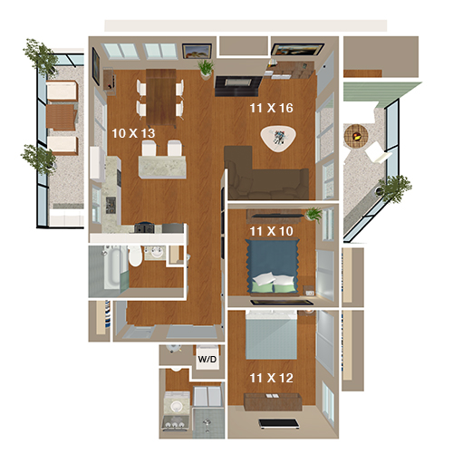 Cedar Rim Apartments   2 Bed/1 Bath   Mountain Stream PRemier Floor Plan